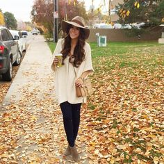 """""""This is a throwback, but easily a favorite look for the fall.. Hat + oversized sweater + booties is my go-to! (PS. These Rebecca Minkoff cross body bags…"""""""
