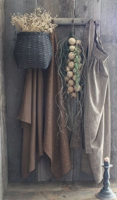 Primitive Early Homestead Look Pegboard w/Apron/Gourds/Towels/Basket/Drieds
