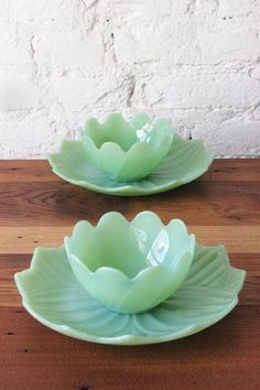 Vintage Set of Jadeite Lotus Blossom Bowl and Petal Leaf Plate Pair by Fire King Anchor Hocking Flower Jadite Green Glass Made in USA by CatchAndReleaseMerch on Etsy https://www.etsy.com/listing/491117756/vintage-set-of-jadeite-lotus-blossom