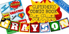 Awesome site: Free letters and banners - Superhero Comic Book Series with Free Printables by My Paper Craze Superhero Letters, Superhero Books, Superhero Classroom, Comic Book Superheroes, Comic Books, Avengers Birthday, Superhero Birthday Party, 4th Birthday, Birthday Ideas
