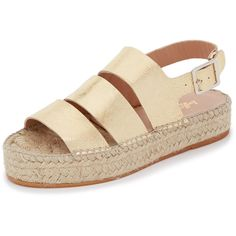 Loeffler Randall Ulla Flatform Espadrille Sandals found on Polyvore featuring shoes, sandals, gold, leather platform sandals, espadrille sandals, woven sandals, leather shoes and woven shoes