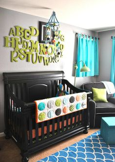 boy nursery idea; I like the alphabet for on the wall with his initial a different size and color.