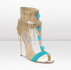 Jimmy Choo -BELLE  Suede and Metal with Stones Sandals
