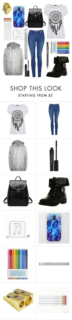 """OOTD: Biology Test"" by bluedaisywhale ❤ liked on Polyvore featuring George, Topshop, WearAll, Smashbox, Refresh, Happy Plugs and ICE London"
