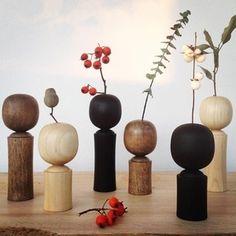 Wood vase  Kokeshi style