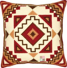 """Geometrical"" counted cross-stitch cushion kit by Vervaco ( Cross Stitch Cushion, Cross Stitch Art, Cross Stitch Designs, Cross Stitching, Cross Stitch Embroidery, Cross Stitch Patterns, Tapestry Kits, Cushion Cover Designs, Thick Yarn"