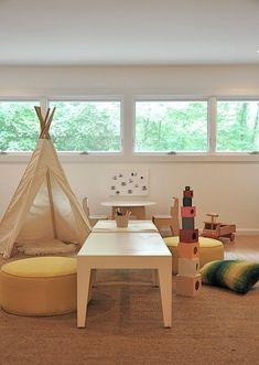 Kids playroom w/ teepee Teepee Kids, Teepee Tent, Baby Teepee, Playroom Design, Playroom Ideas, Children Playroom, Modern Playroom, Toddler Playroom, Toddler Bed
