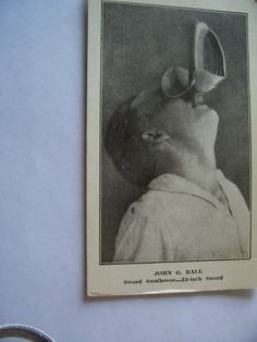 """Sword Swallower John """"Lucky"""" Ball pitch card. Historical vintage sword swallowing photos used courtesy of Sword Swallowers Association International (SSAI) Sword Swallower's Hall of Fame: www.swordswallow.com/halloffame.php"""