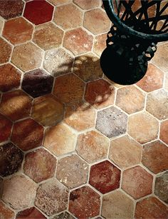 Hexagon Provenance: FranceMaterial: Antique Terra Cotta Genuine antique terra cotta flooring tiles. No two floors are identical, the variation of hue, shape and color makes antique terra cotta a unique and impressive material. Lovingly salvaged. Exquisite Surfaces