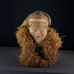 Nu in de #Catawiki veilingen: African Tribal PENDE MBUYA with wooden beard and straw. Democratic Republic Congo.