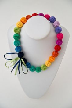 Rainbow crochet necklace - could be used in so many ways and so many colors
