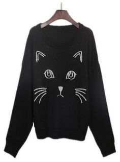 Black Embroidered Cat Round Neck Loose Sweater. http://www.sheinside.com/