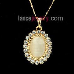 Delicate pendant necklace with natural cat eye and rhinestone
