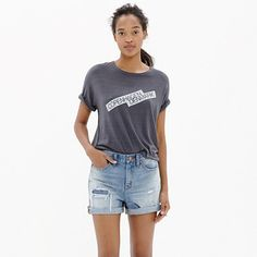 "Our denim shorts are made to fit just right—not too baggy, not too tight. Plus, they hit at the perfect place on the thigh to ensure maximum cool-girl legginess. We love the way the artfully hand-distressed rip and repair details give these cutoffs that had-them-forever vibe.  <ul><li>True to size, fixed waistband.</li><li>5"" inseam.</li><li>Cotton.</li><li>Machine wash.</li><li>Import.</li></ul>"