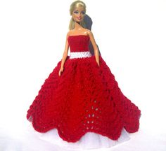 Red Knitted Lace Christmas Ball Gown for by KaibrecadKreations, $40.00