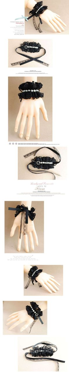 Venta al por mayor DIY mano encajes Negro Cristal Pulsera Perla - Gothic - Correa - temperamento pulsera | Cheap-jewelry-online.net