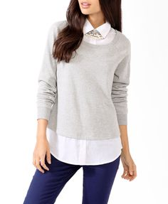 Shirt Inset Pullover | FOREVER21 - 2030187270