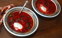 Paleo traditional borscht ~topped with cultured organic sour cream