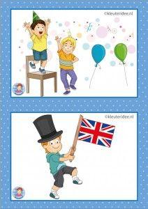 32 dagritmekaarten voor kleuters, juf Petra kleuteridee / Preschool schedule cards, Engels en feest