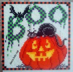 DECO.KDO.NAT: Perles hama: tableau halloween chat/citrouille