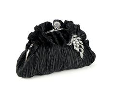 AURORA - Black Bridesmaid Evening Bag Clutch Purse with Crystal Leaves Accent