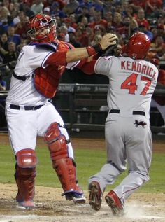 A.J. Pierzynski tags an out!