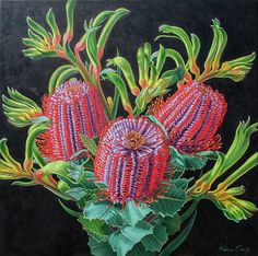 This is an oil painting on canvas of Australian native flowers, banksias and kangaroo paws.