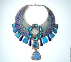 """Beaded necklace / Купить """"Атлантида"""" колье-оплечье - синий, необычное украшение, колье оплечье, сине-голубой, яшма"""