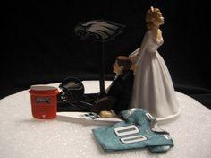 Philadelphia Eagles Wedding Cake Topper Bride Groom by finsnhorns. , via Etsy.