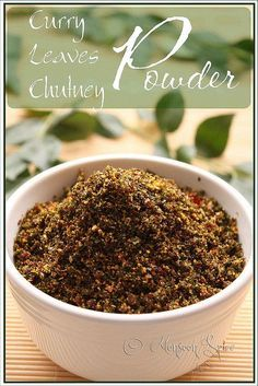 Curry Leaves Chutney Powder/ This Curry Leaves Chutney Powder is one of my favourite condiments to have with some crisp Dosa or fluffy and spongy Idli or simple steam cooked rice and chilled curds/yogurt. lentils and whole spices. ,,,when needed, take one or two spoonfuls of this powder and mix them with a bowl of hot/warm rice, papad, ghee or a bowl of yogurt and you have this delicious meal ready in a jiffy. Gluten Free, Vegan