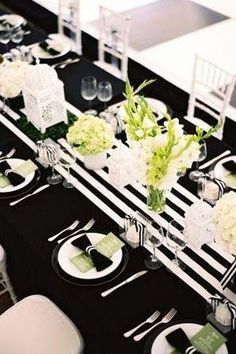 Black and white paired with pink and gold are a winning combination for modern weddings. The tablescape above is the perfect representation of how this color palette shines. Especially with that big bold centerpiece. Another option is to choose the more muted route and to keep the gold very understated wit a touch of pale pink floral arrangements. Either way, the combination of classic and feminine is wonderful.
