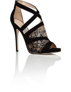 Jimmy Choo Vantage Sdc 120 Suede and Lace Assymetrical Peep Bootie
