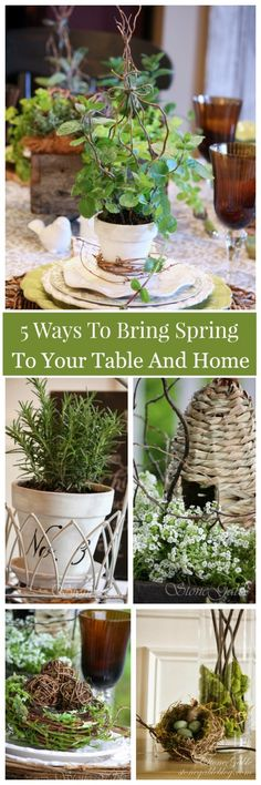 5 WAYS TO BRING SPRING TO YOUR TABLE AND HOME  easy ways to decorate with organic spring elements