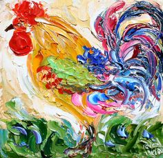 Original oil painting Rooster Barnyard art by Karen Tarlton impasto impressionism palette knife