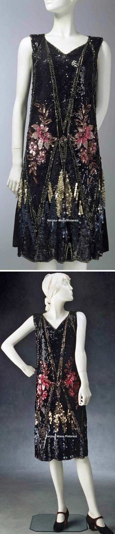 Evening dress, French, ca. 1925. Tulle embroidered with black, pink, & pewter sequins and silver metal beads. Scalloped hem. Powerhouse Museum
