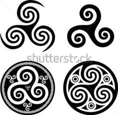 Black isolated celtic triskel set, vector elements for your design - stock vector Celtic Symbols And Meanings, Viking Symbols, Magic Symbols, Viking Runes, Celtic Spiral, Celtic Art, Irish Celtic, Norse Tattoo, Celtic Symbols
