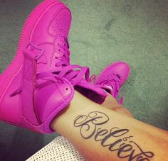 Magenta Nike Air Force 1 High Tops Believe Tattoo Dope Swag Fashion Paigey Cakey
