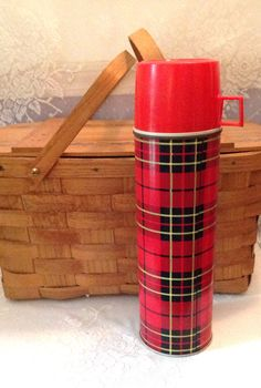 Vintage 1960's red plaid Thermos large red by LakesideVintageShop