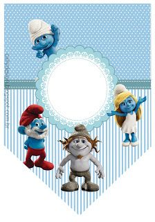 "CALLY'S DESIGN-Kits Personalizados Gratuitos: KIT PERSONALIZADO ""OS SMURFS"" Printable Box, Printable Banner, Printables, Lost Village, Silhouette Projects, Birthday Parties, Teddy Bear, Toys, Party"
