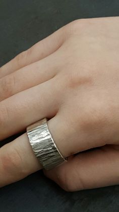 Textured chunky sterling silver ring by Linda Tucker Jewellery