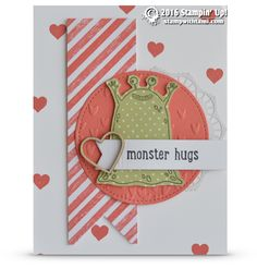 CARD: Adorable Monster Hugs for Valentines day | Stampin Up Demonstrator - Tami White - Stamp With Tami Crafting and Card-Making Stampin Up blog