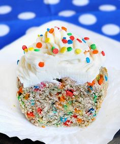 It's a Funfetti cupcake... but this recipe makes just ONE single cupcake! I've tried it, and it's AH-MAAAZING, not to mention, pretty darn healthy. I actually substitute part of the white flour for wheat, and use a bit more applesauce. You can substitute spelt flour if you prefer. Yum!