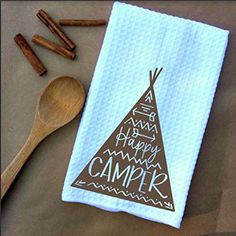 Happy Camper Microfiber Waffle Weave Kitchen Towels Drying Cloth 16inch X 24inch White