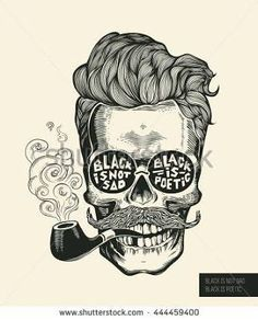 Hipster skull silhouette with mustache, beard, tobacco pipes and glasses… Skull. Hipster skull silhouette with mustache, beard, tobacco pipes and glasses… Skull Silhouette, Beard No Mustache, Hipster Mustache, Skull Tattoos, Skull And Bones, Skull Art, Printed Shirts, Tattoo Designs, Sketches