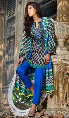 Buy Black/White/Blue Embroidered Linen Salwar Kameez by Zainab Chottani Winter Collection