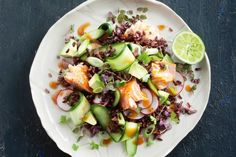 Miso-glazed salmon and black rice combine with fresh cucumber, radish and avocado flavours to make a light but satisfying salad.