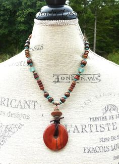 Earthy boho necklace. Red, turquoise, stone with copper and wood. Andria McKee, McKee Jewelry Designs, boho, bohemian, handmade, jewelry, jewellery