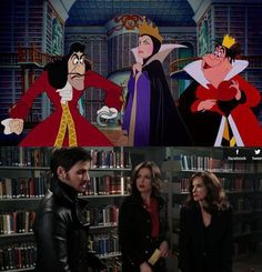 Only on Once Upon A Time would Captain Hook, The Evil Queen, and the Queen of Hearts be in Belle's Library