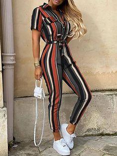Striped Jumpsuit, Printed Jumpsuit, Striped Shorts, Denim Jumpsuit, Wrap Jumpsuit, Trend Fashion, Look Fashion, Feminine Fashion, Fashion Clothes