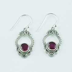 Ruby Semi Precious Stone Earring 925 Handmade Sterling Silver #SilvexImagesIndiaPvtLtd #DropDangle